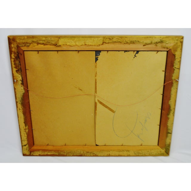 Vintage Gold and White Striated Paint Framed Mirror For Sale - Image 4 of 10