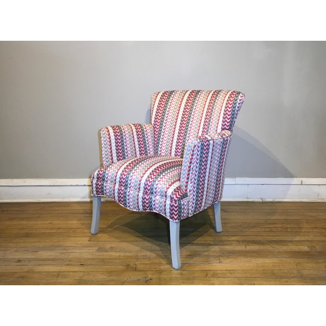 White Vintage Mid Century Petite Armchair For Sale - Image 8 of 8