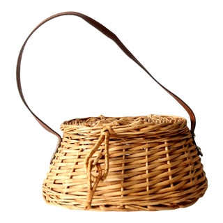 Vintage Wicker Carrying Basket For Sale