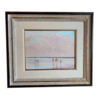 """1970s Vintage Andre Gisson """"Coral Sky"""" Original Oil Painting For Sale"""