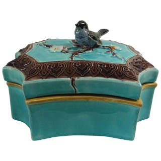 19th Century Victorian Joseph Holdcroft Majolica Bird Box For Sale