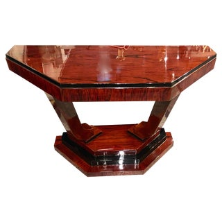 Art Deco Triangular Console With Ebony Accents For Sale
