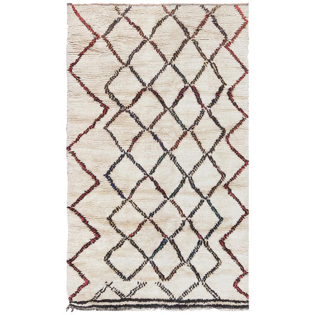 Vintage Beni Ourain Moroccan Ivory Rug - 4′8″ × 7′8″ For Sale