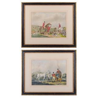 Antique English Hunt Scene Prints - a Pair For Sale