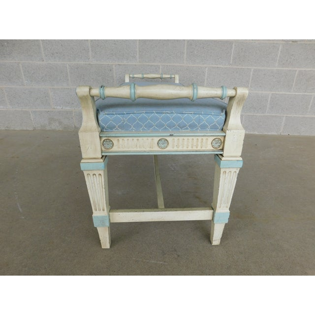 White Hickory White Regency Style Paint Decorated Window Accent Bench For Sale - Image 8 of 9