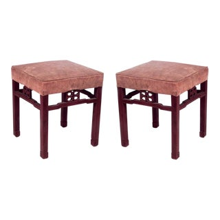 Vintage Mid Century Asian Chinese Style Square Teak Benches- a Pair For Sale