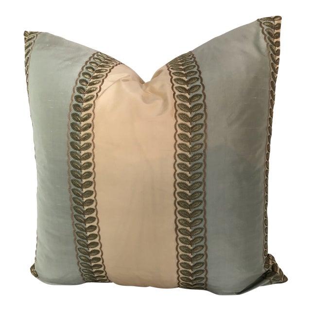 "Manuel Canovas Mint Green & Cream Stripe, Goose Down Insert Pillow 22"" x 22"" For Sale"