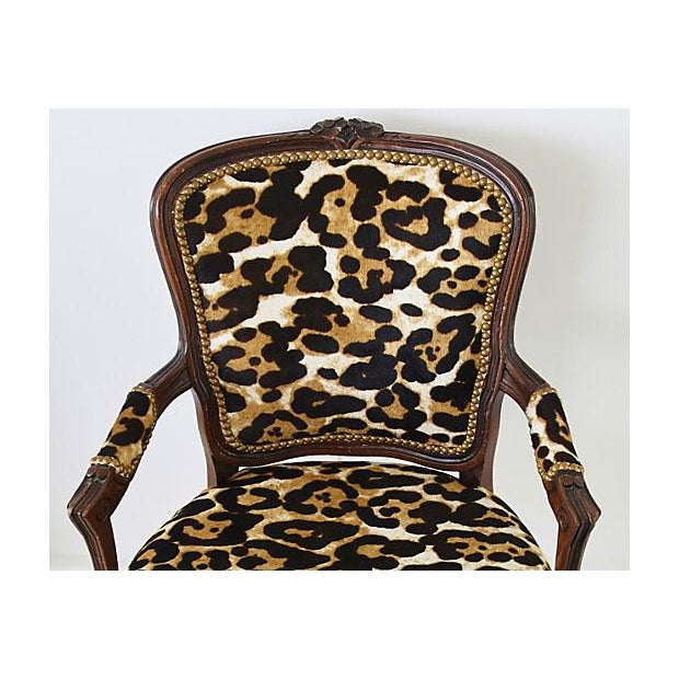 Carved Armchair W/ Cowhide Animal Spots For Sale - Image 10 of 12