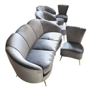 Italian Mid-Century Modern Grey Velvet Sofa, Armchairs, Chairs and Poufs - Set of 7 For Sale