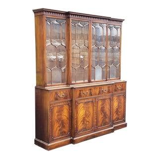 1940s Mahogany Frederick Tibbenham English Georgian Flame Mahogany Dining Room Breakfront Cabinet For Sale