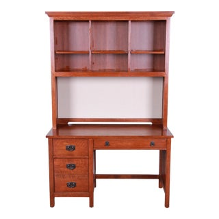 Stickley Mission Oak Desk With Lighted Hutch Top, 1990s For Sale