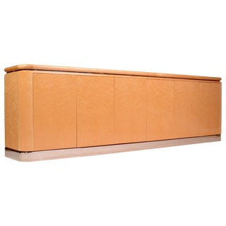 "Burl Maple ""Radial"" Credenza by Stanley Jay Friedman for Brueton For Sale"