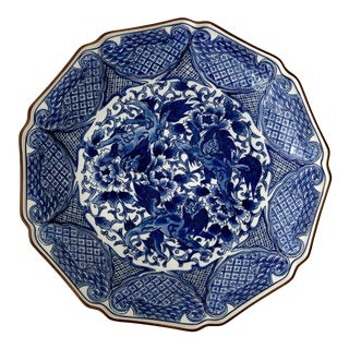 "Vintage Chinoiserie 12"" Diameter Dragons White and Blue Charger Platter Plate For Sale"