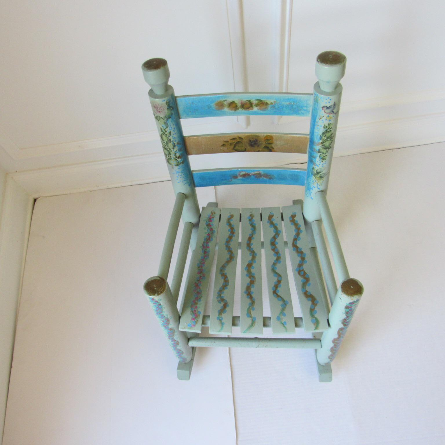 Antique Small Blue Childs Rocking Chair   Image 5 Of 6