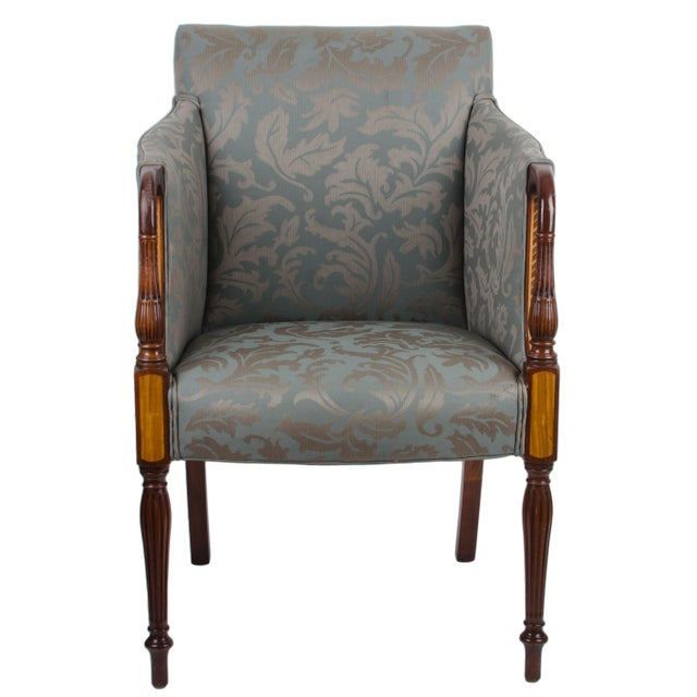 Southwood Sheraton Style Inlaid Mahogany Club Chairs - A Pair For Sale In Savannah - Image 6 of 10