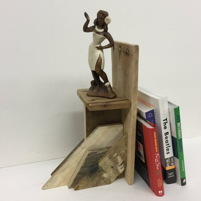 Wood Rustic Industrial Wood Bookend & Display Shelf For Sale - Image 7 of 11