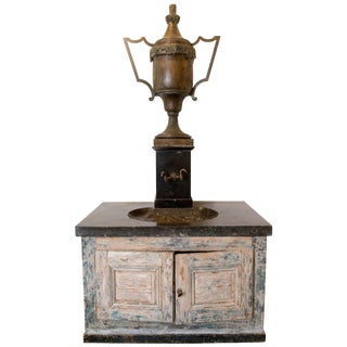 Bronze Vase Fountain With Black Marble Sink and Patina Base For Sale