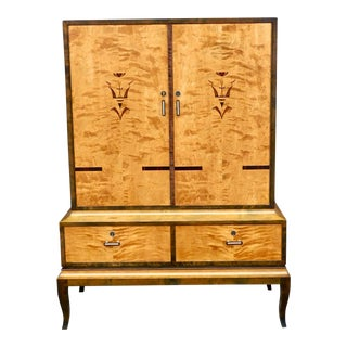 1920s Swedish Art Deco Inlaid Armoire For Sale
