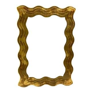 1980s David Marshall Èglomisè Gold Leaf Wave/Wavy Mirror