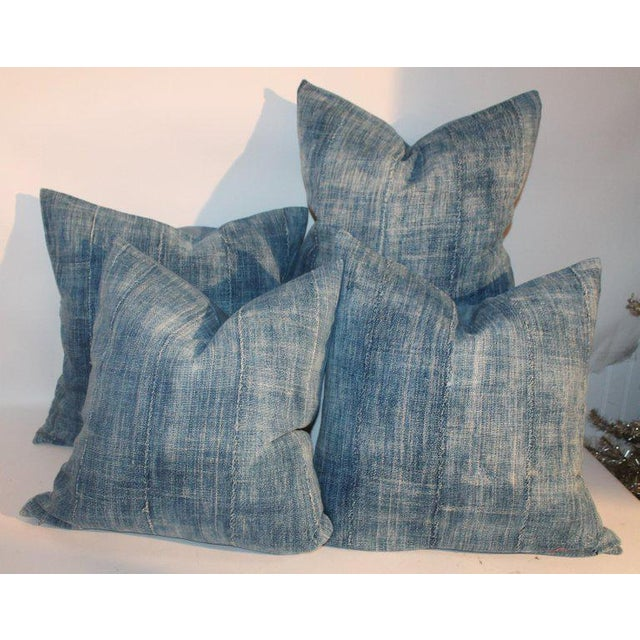 Boho Chic 19th Century Blue Homespun Linen Pillows - a Pair For Sale - Image 3 of 10