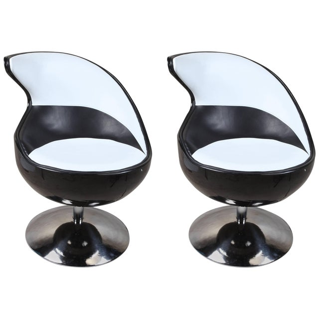 Pair of 1970s Space Age Atomic Swivel Leather Chairs For Sale