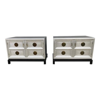 1960s Chinoiserie Century Furniture Silver Leaf Cabinets / Nightstands - a Pair For Sale