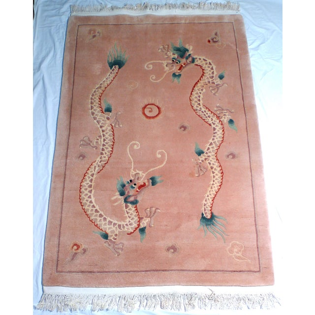 Brown Early 20th Century Art Deco Chinese Dragon Rug-4′ × 6′9″ For Sale - Image 8 of 8