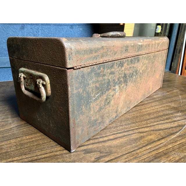 1980s Vintage Car-Racing Crew Rusted Metal Patina Tool Box For Sale - Image 5 of 11