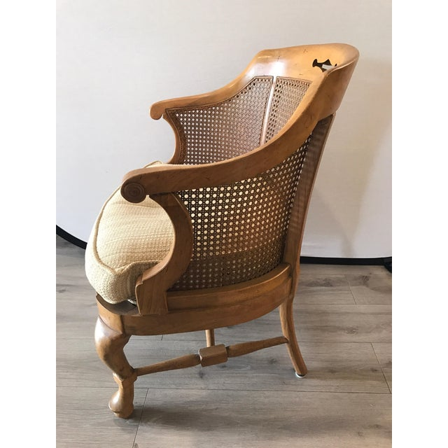 1960s Mid-Century Modern French Barrel Back Caned Armchair For Sale - Image 5 of 8