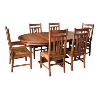 Crafters and Weavers 2 Leaf Round Dining Table Set W/ 6 Chairs - Golden Brown - 7 Pieces For Sale