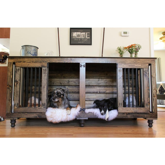 Metal B&B Kustom Kennels Double Doggie Den Rustic Credenza For Sale - Image 7 of 7