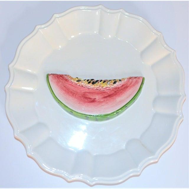 Boho Chic (Final Markdown) 1970's Majolica Italian Trompe l'Oeil Melon Plate For Sale - Image 3 of 7