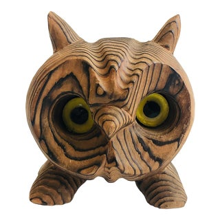 Mid Century Carved Wood Owl For Sale