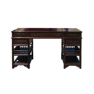 Chinese Rosewood Lettuce Base Writing Desk For Sale