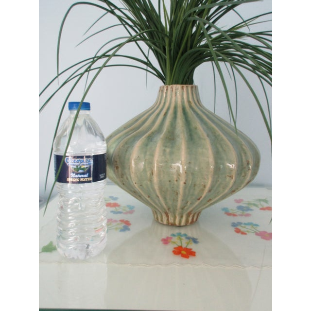 Ceramic Global Views Teal Cinched and Fluted Vase For Sale - Image 7 of 11
