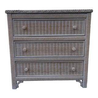 20th Century Country Henry Link for Lexington White/Beige Wicker Standard Dresser For Sale