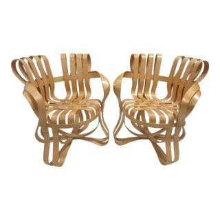 1990s Vintage Frank Gehry for Knoll Cross Check Chairs- A Pair For Sale