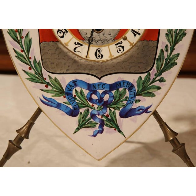 19th Century French Porcelain & Brass Paris Coat of Arms Desk Clock For Sale - Image 5 of 7