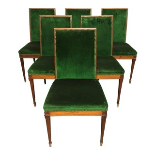1940s Vintage French Modern Jean Michel Frank Style Mahogany Dining Chairs- Set of 6 For Sale
