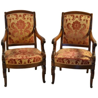 Pair of Louis-Phillippe Mahogany Fauteuils For Sale