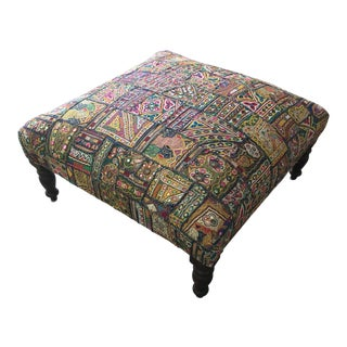 Vintage Hand Embroidered Bohemian Ottoman For Sale