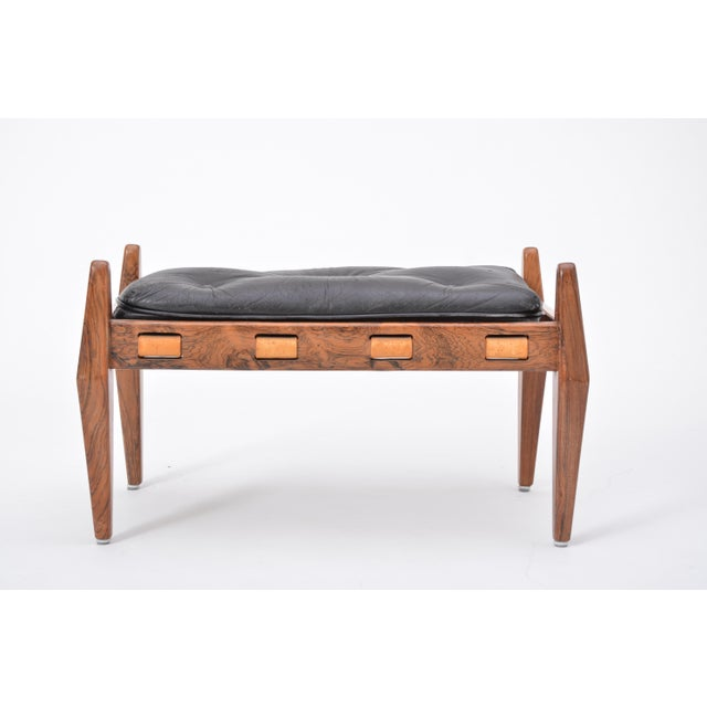 Black Vintage Leather Ottoman/ Foot Stool, Attributed to Sergio Rodrigues For Sale - Image 10 of 12