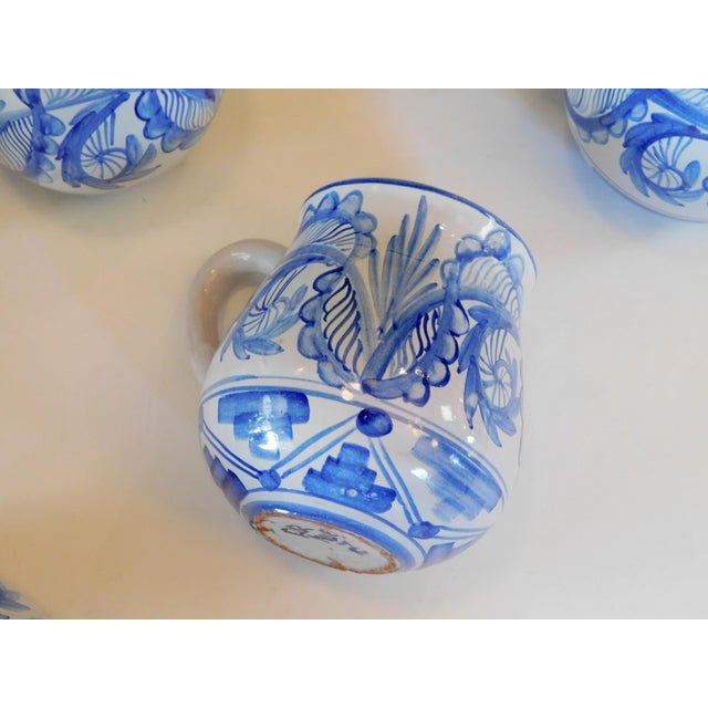 Hand Made Rustic Blue and White Studio Mugs - Set of 5 For Sale In San Francisco - Image 6 of 9