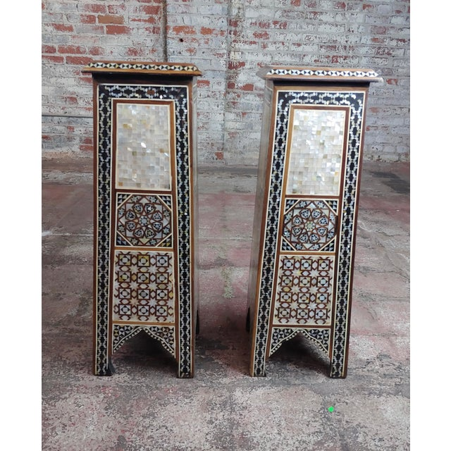 """Syrian Pair of Vintage """"Tower Shaped"""" Petite Inlaid Stands size 9 x 9 x 28"""" A beautiful piece that will add to your décor!"""