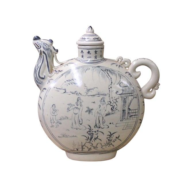Chinese Oriental Ceramic Cream White Outline Graphic Bird Head Jar For Sale