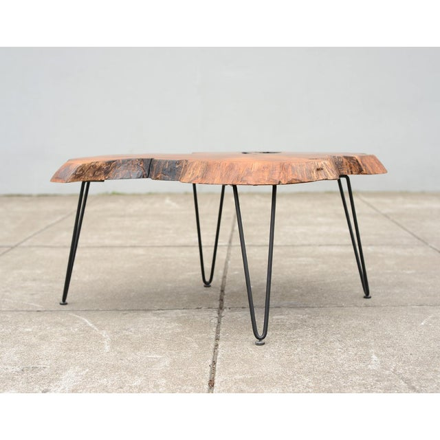 Mid Century Modern Live Edge Coffee Table With Hairpin Legs For Sale In San Francisco - Image 6 of 10