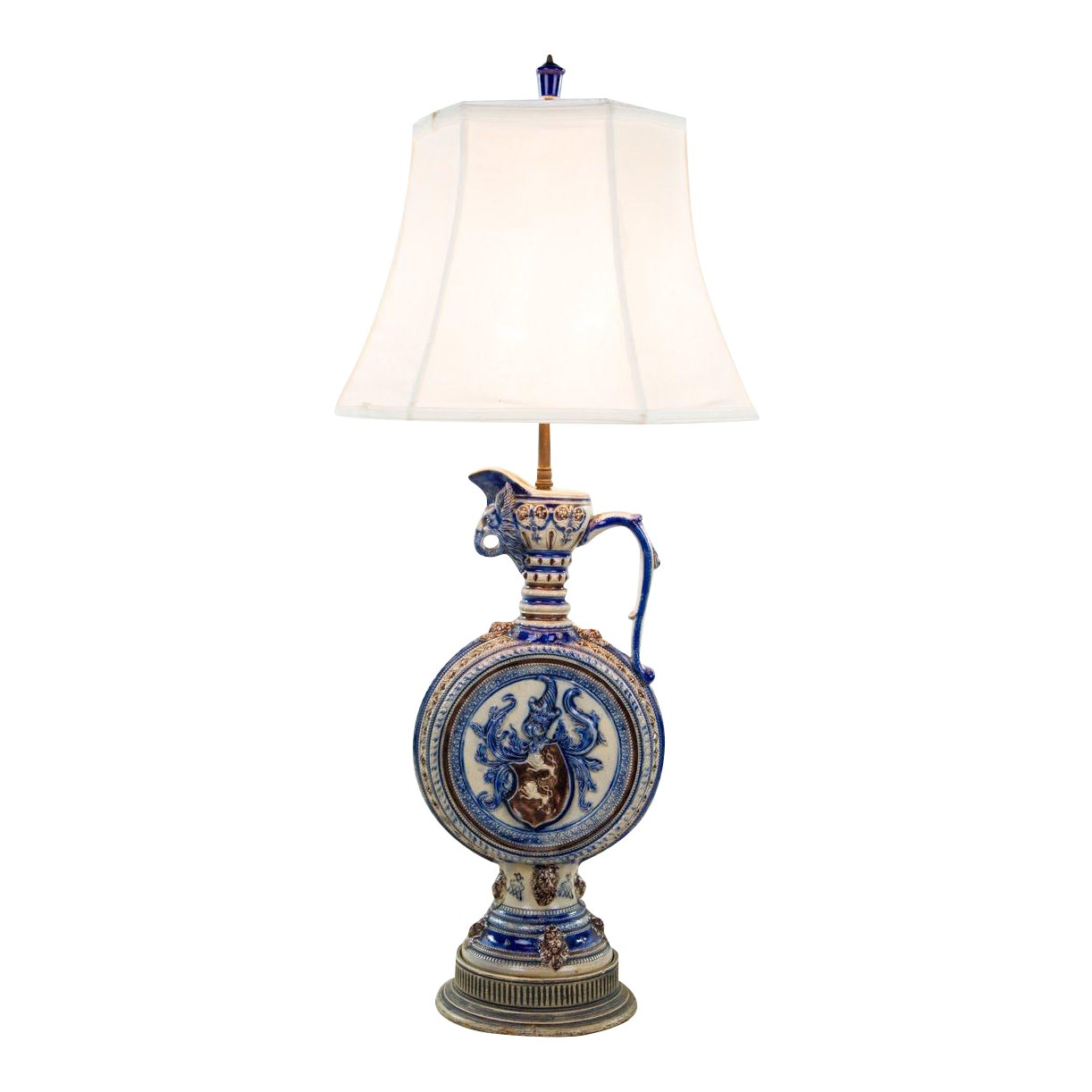 1920s Neoclassical Italian Porcelain Pitcher Double Light Table Lamp