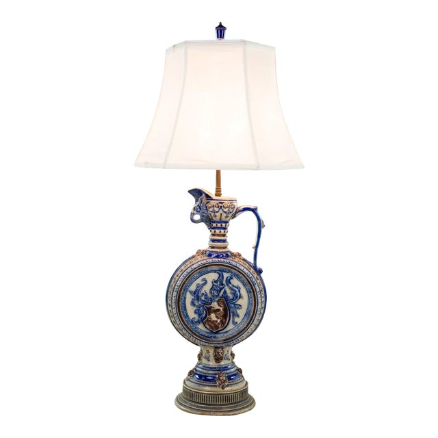 1920s Neoclassical Italian Porcelain Pitcher Double Light Table Lamp For Sale
