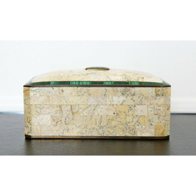 Maitland - Smith Mid Century Modern Maitland Smith Brass Tessellated Stone Lidded Box Vessel 70s For Sale - Image 4 of 11