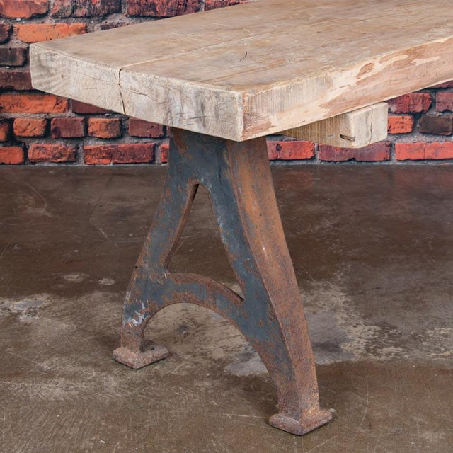 Contemporary 1920s Rustic Wood Console Table With Industrial Cast Iron Legs For Sale - Image 3 of 8